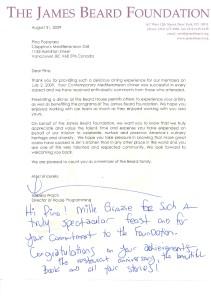 James Beard Letter