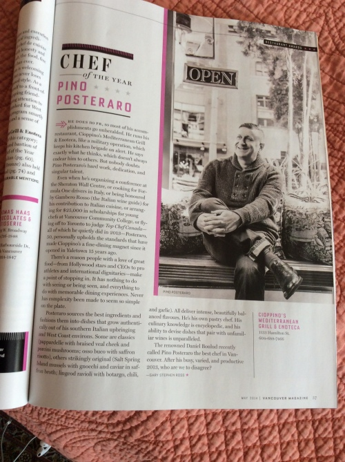 Chef of the Year Vancouver Magazine Awards 2014: excellent article written by Gary Ross